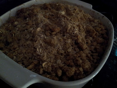 Baked Peach Blueberry Crisp ready to enjoy