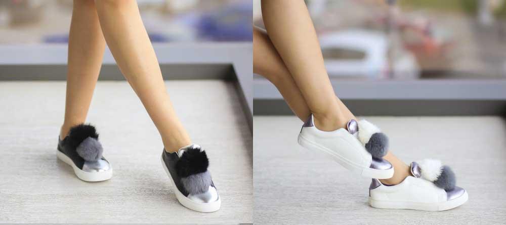 Pantofi sport femei albi, negri cu accesorii la moda 2017