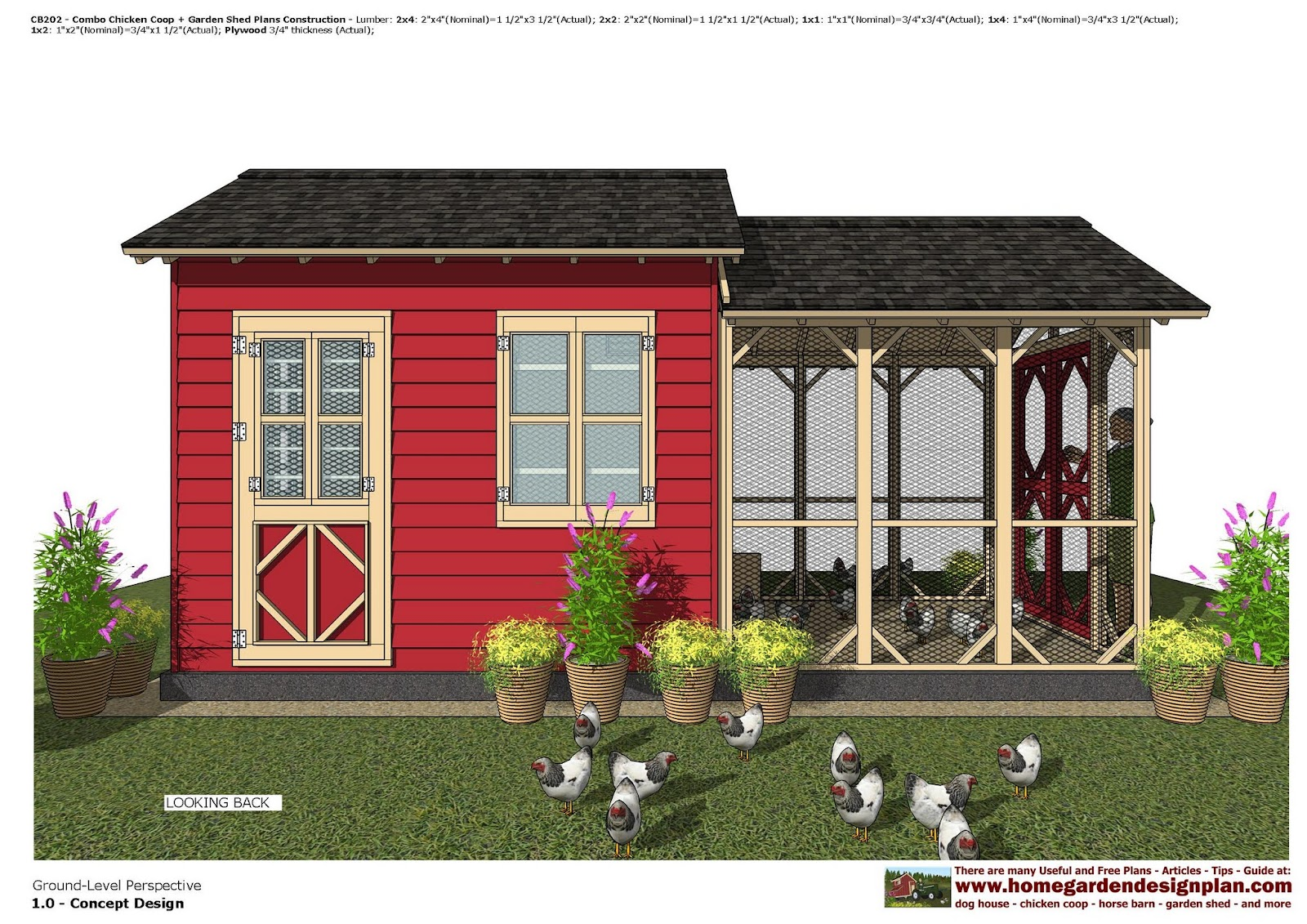 Cb202 Combo En Coop Garden Shed Plans Construction