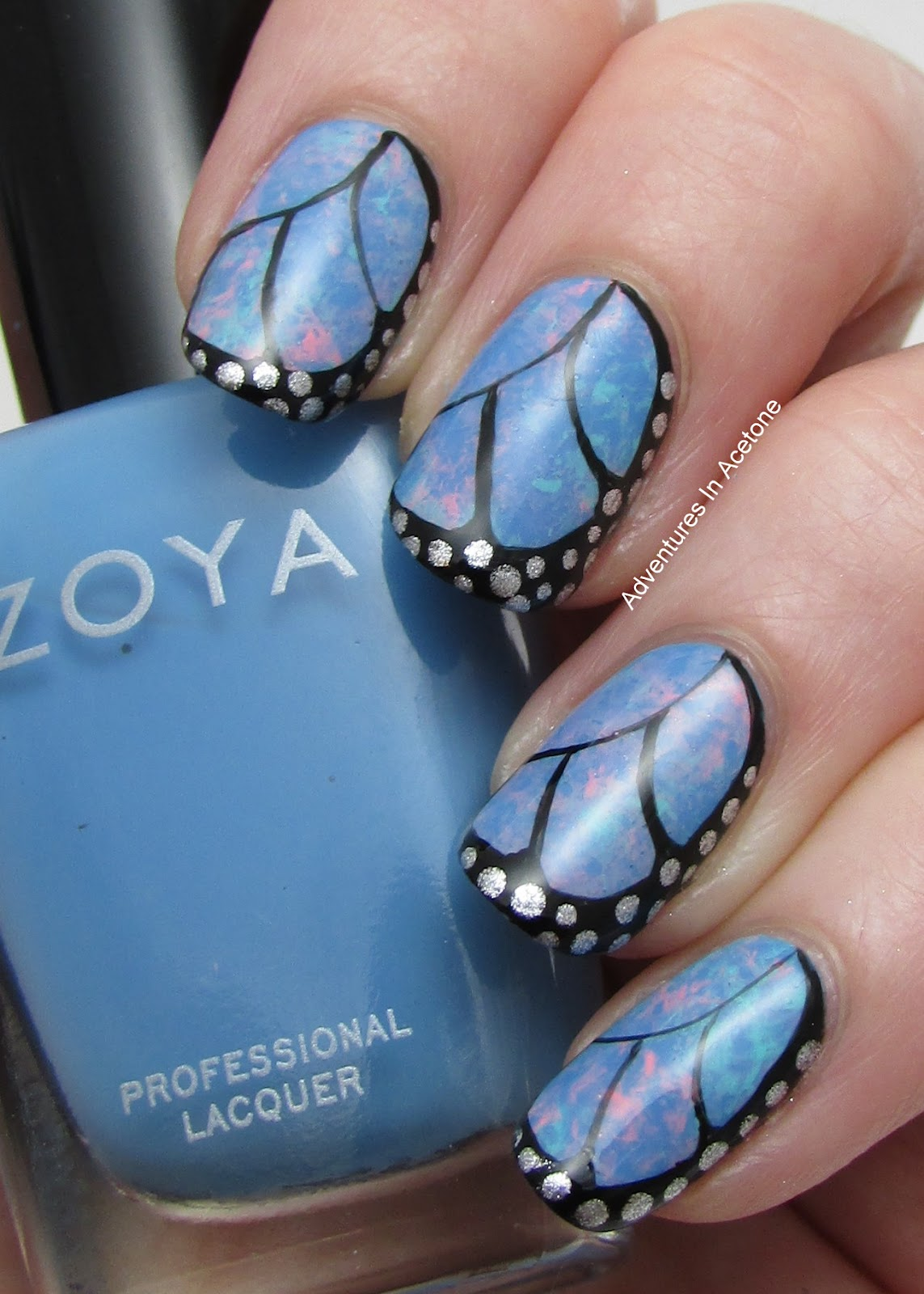 Tutorial Tuesday Butterfly Wing Saran Wrap Nail Art Adventures In Acetone
