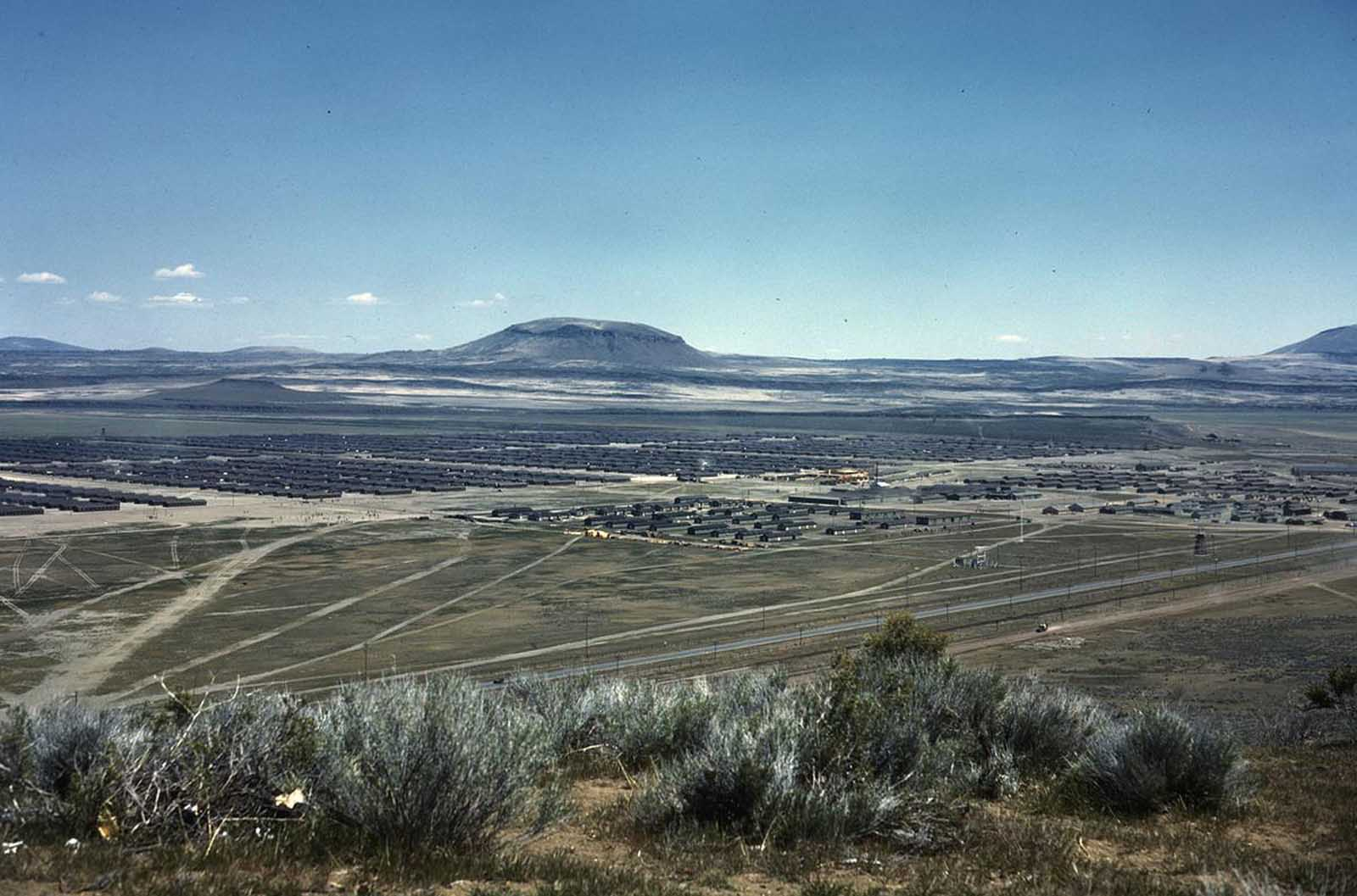 A wide view of the Tule Lake Relocation Center, in Newell, California. Photo taken in 1942 or 1943.