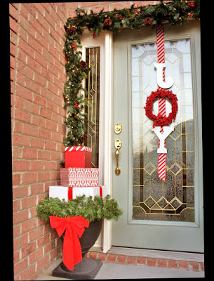 Stunning Ideas For Front Door Christmas Decorations With Gift Preview Image
