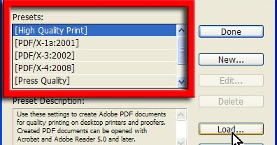 How to load joboptions in InDesign, Photoshop and