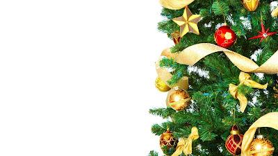 Kerst wallpaper met versierde boom