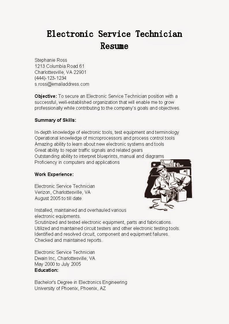 sample resume electronics technician thevillas co