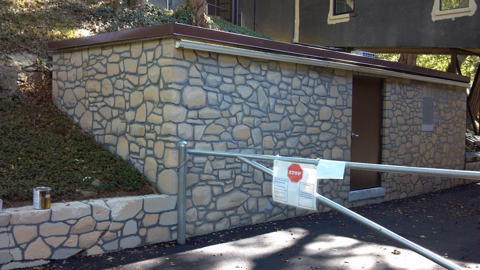 Faux Stone Wall Here S A Section Of The Retaining And Concrete Outbuilding That I Am Nearly Done Painting Ll Be Going Back To Work On It Tonight