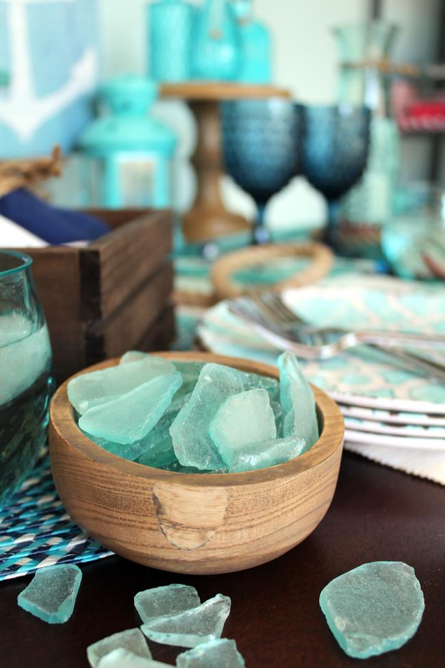 sea glass, dessert table, beach theme, nautical, dessert plates