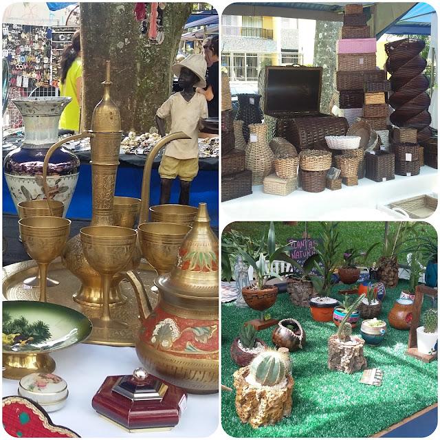 Antiguidades, cestaria e plantas ornamentais.