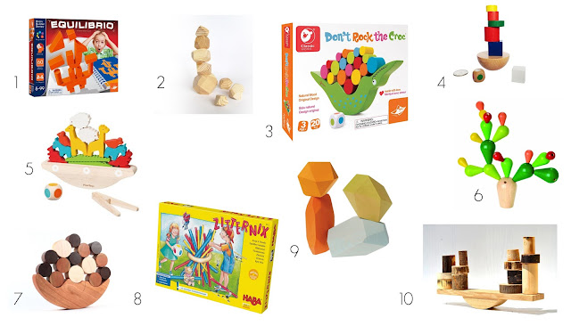 Balancing games on our 3-year-old's Montessori play shelves! 10 balancing games for children!