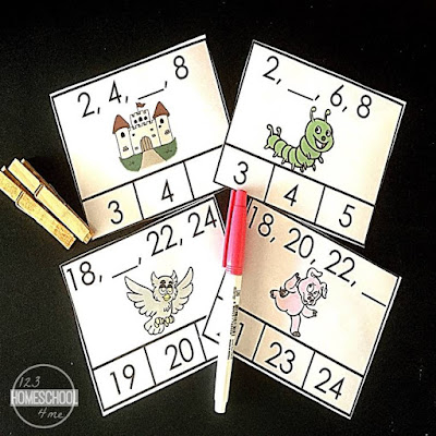 hands on math activity for learning to count by 2s and count by 3s