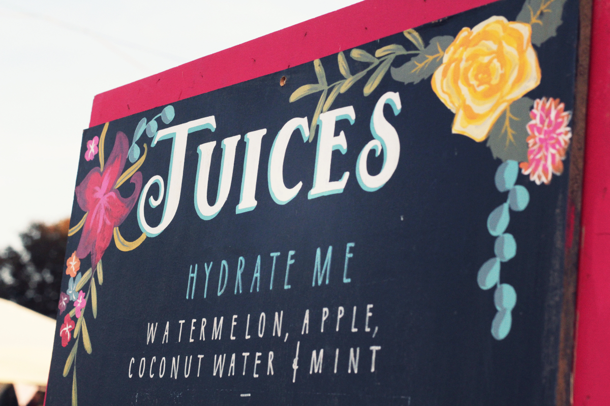 Juice, S'juice Me, sign painting, festival, Festival Number 6