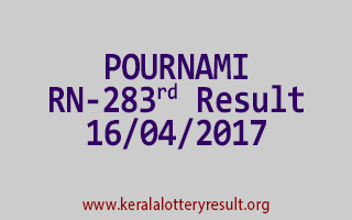 POURNAMI Lottery RN 283 Results 16-4-2017