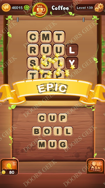 Word Bright Level 139 Answers, Cheats, Solutions, Walkthrough for android, iphone, ipad and ipod