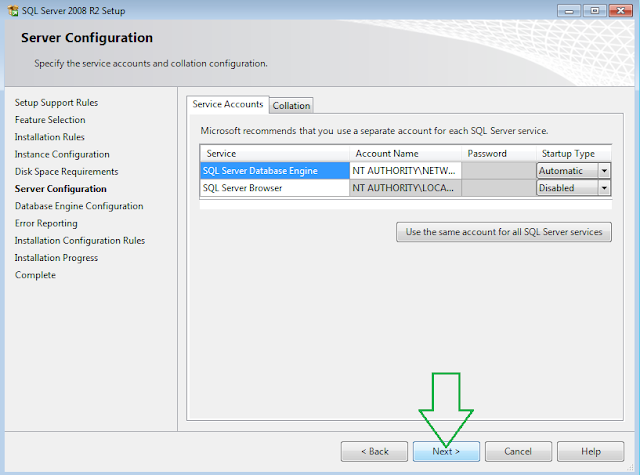 SQL Server 2008 R2 Installation Server Configuration