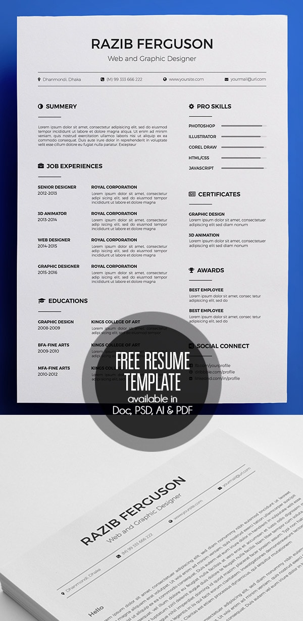 Template Resume / CV Terbaru 2017 - Free Resume Template available in Doc, PSD, AI & PDF