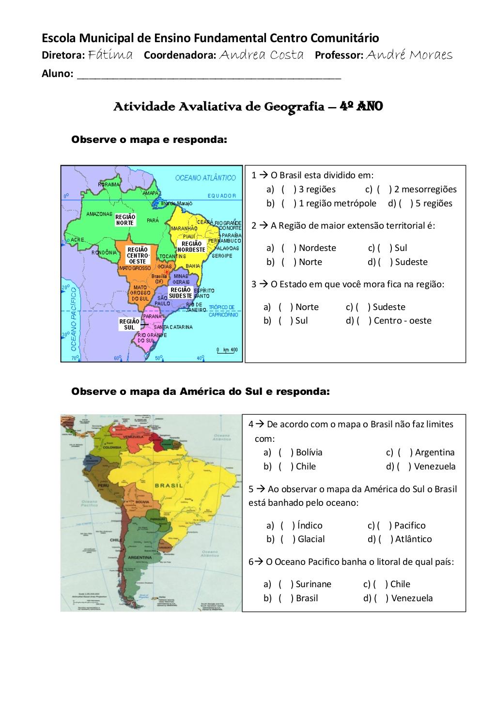 Atividades Regiões Brasileiras 4o Ano