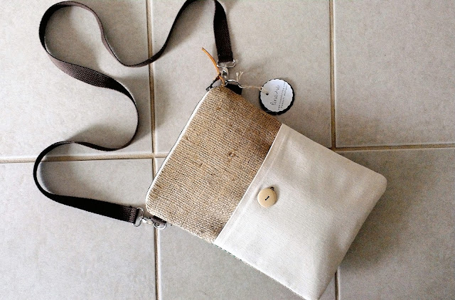 Fair Trade cross-body burlap zipper bag by Lina and Vi Plymouth Michigan | linaandvi.etsy.com