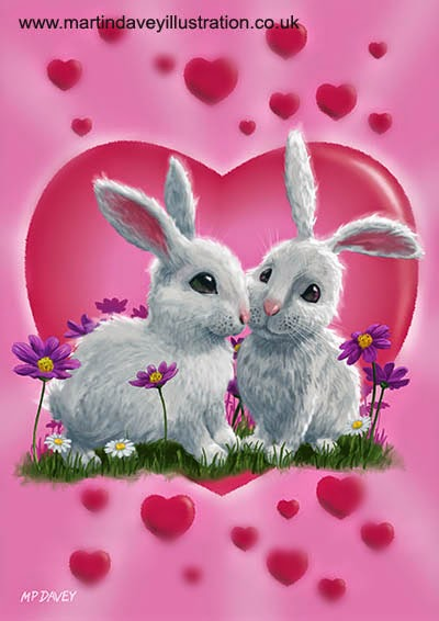Romantic White Rabbits with Heart digital painting