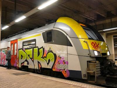 LE TRAIN PSK ET SON SURVEILLANT EN GARE DE NAMUR