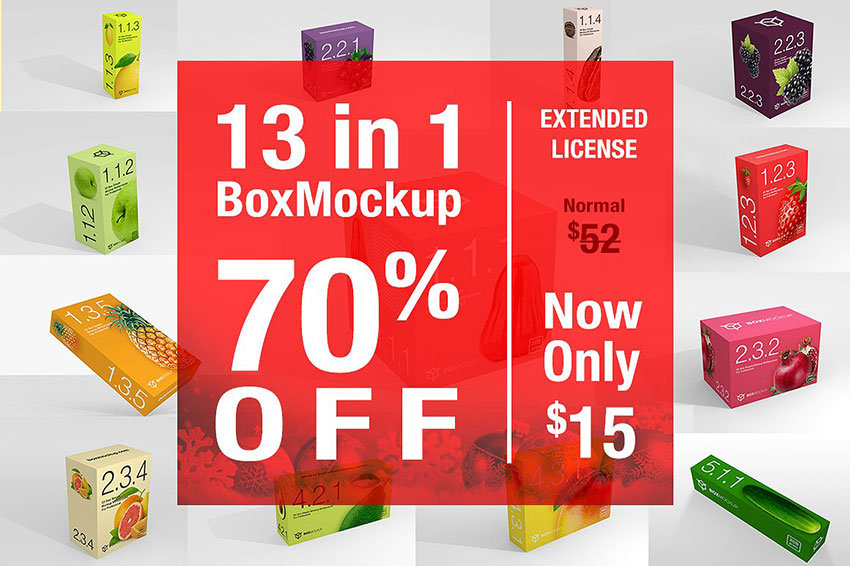 Box Mockup Fruits Bundle