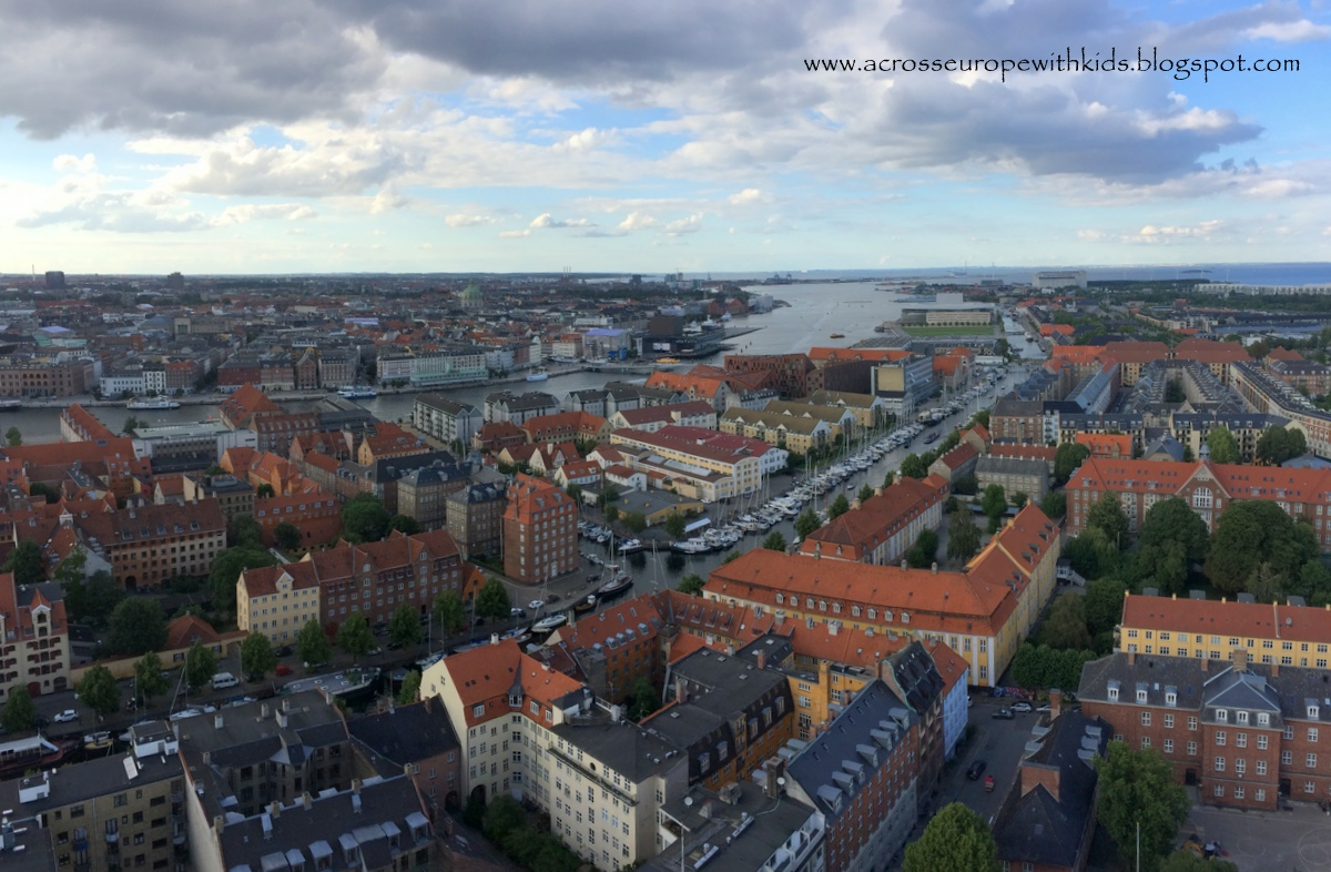 The view from the observation point in Vor Frelsers Kirke tower in Copenhagen.