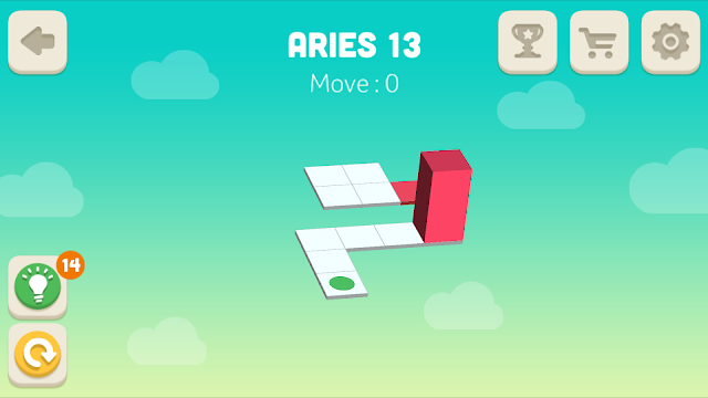 Bloxorz Aries Level 13 step by step 3 stars Walkthrough, Cheats, Solution for android, iphone, ipad and ipod