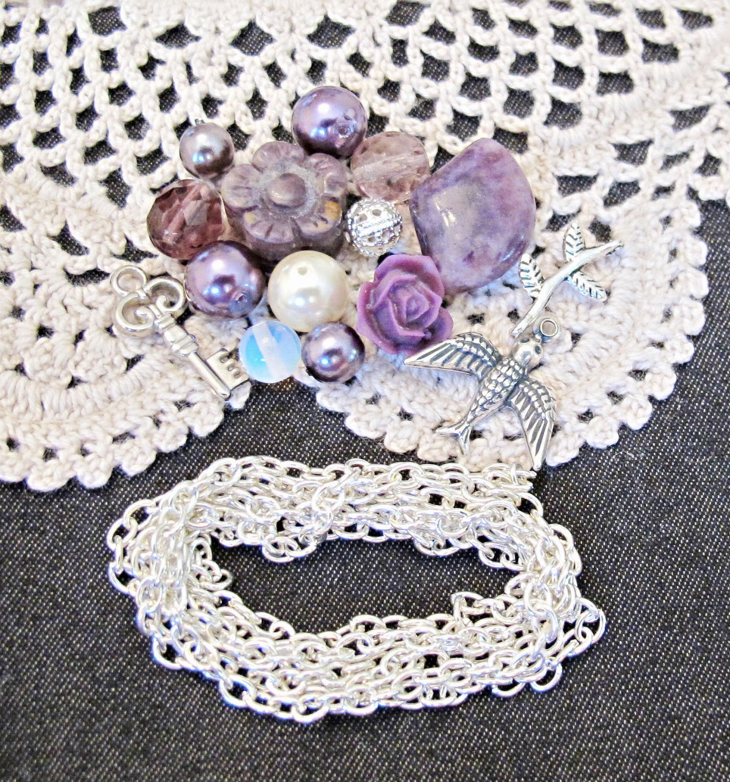 image tutorial diy lariat necklace purple beads silver chain