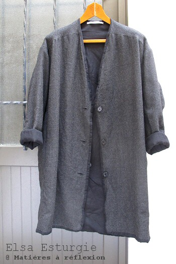 SOLDES manteau en laine gris Elsa Esturgie