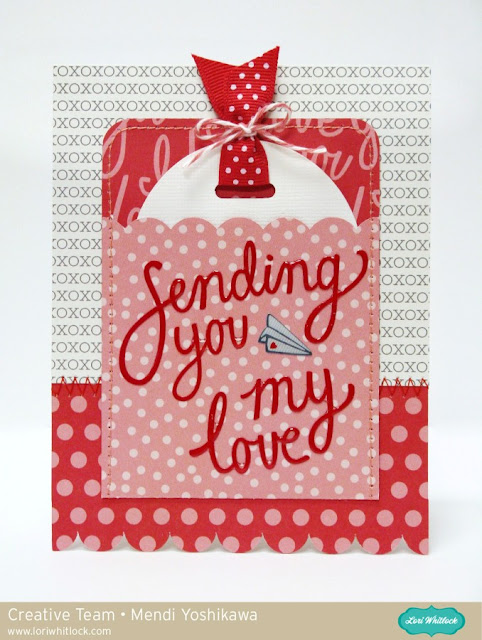 Valentine's Day Pocket Gift Card by Mendi Yoshikawa (using Lori Whitlock cutting files & Pebbles papers)