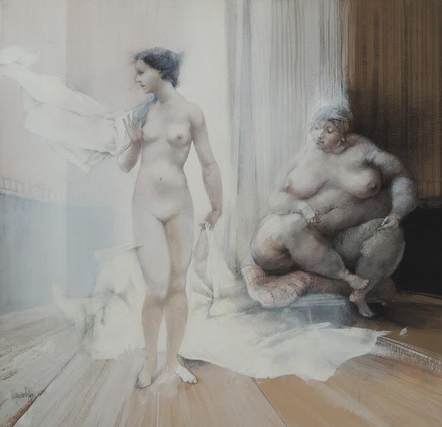Glauco Capozzoli acuarela desnudo surrealista mujer gorda