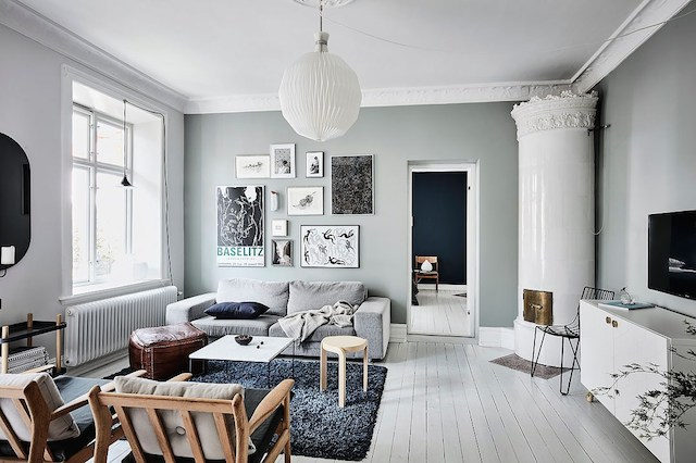 Calm blue-green tones in a Swedish home