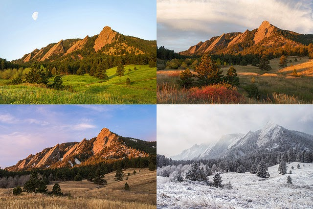 Boulder Colorado Flatirons four Seasons  Winter Summer Fall Spring photography by Aaron Spong