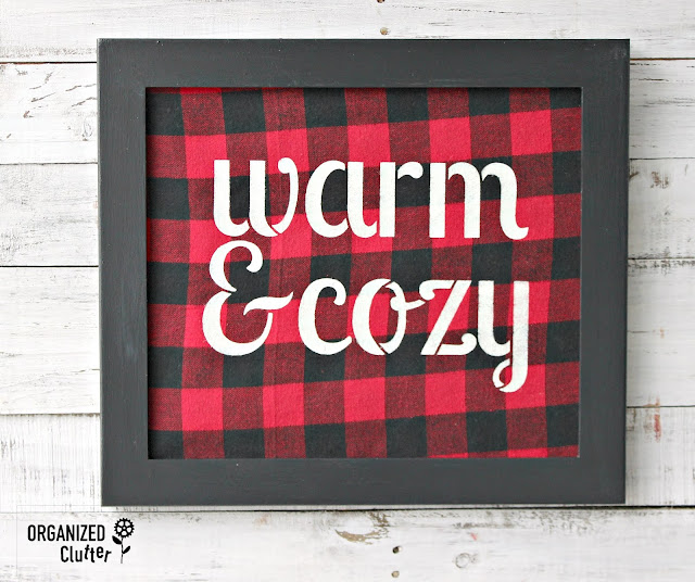 Framed Flannel Stenciled Winter Sign #stencil #buffalocheck #thriftshopmakeover