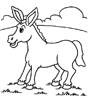 Cute Donkey Coloring Sheet
