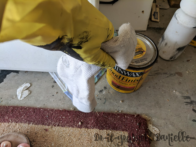 Using stain: apply with a sock over a glove.