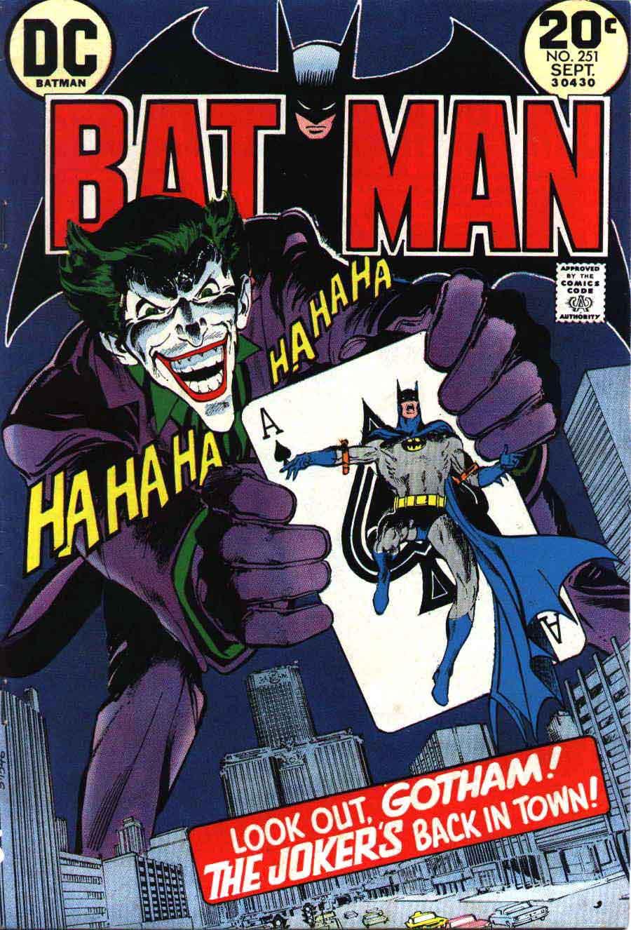 Batman #251 bronze age 1970s dc classic Joker comic book cover art by Neal Adams