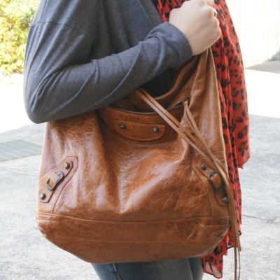 Balenciaga truffle brown day bag classic RH