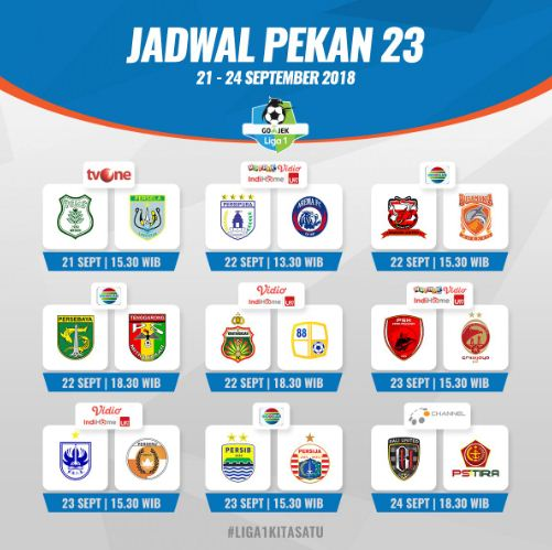 Jadwal Liga 1 2018 Pekan 23