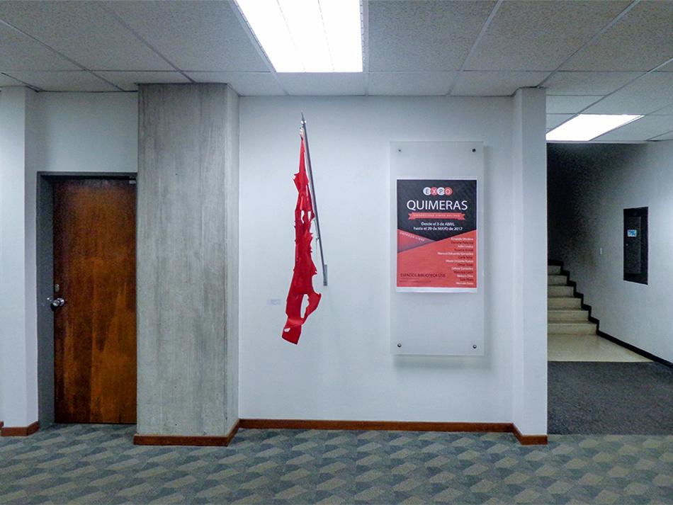 Bandera en la exposición Quimera del Laboratorio Estético. Manuel Eduardo González