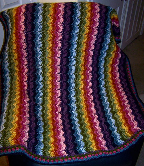 Rainbow Waves Afghan - free Pattern