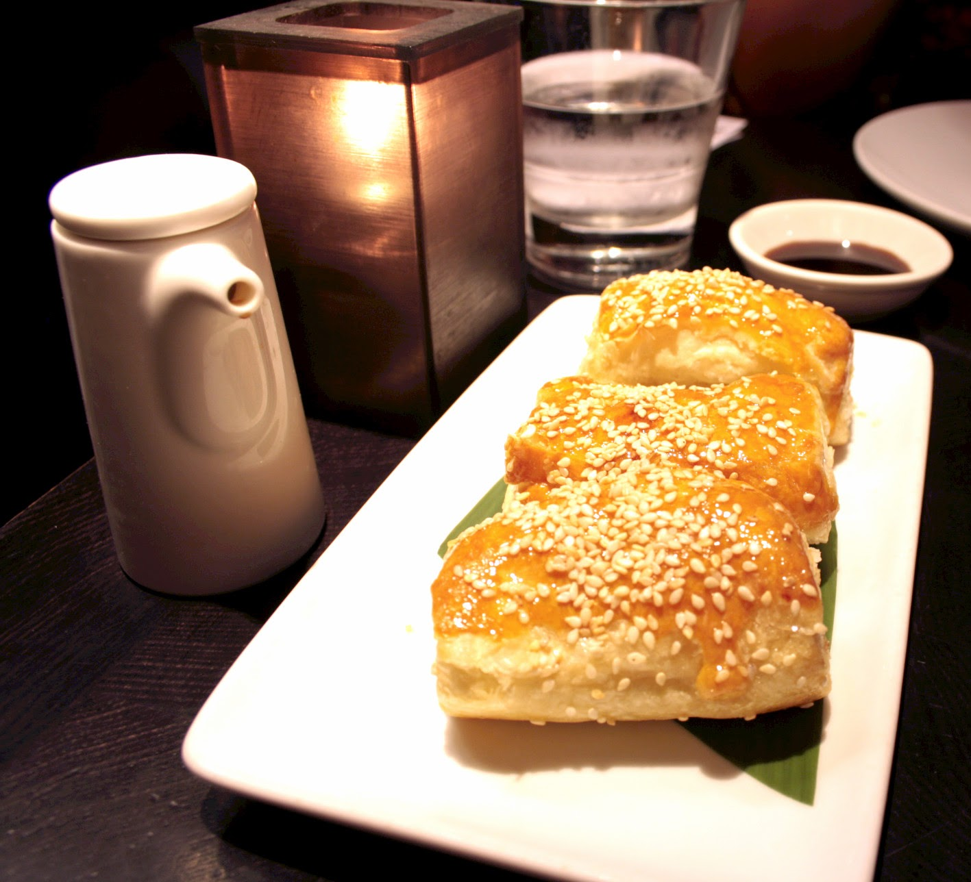 Golden flaky pastry stuffed with honey BBQ pork from Ping Pong dim sum restaurant in Soho