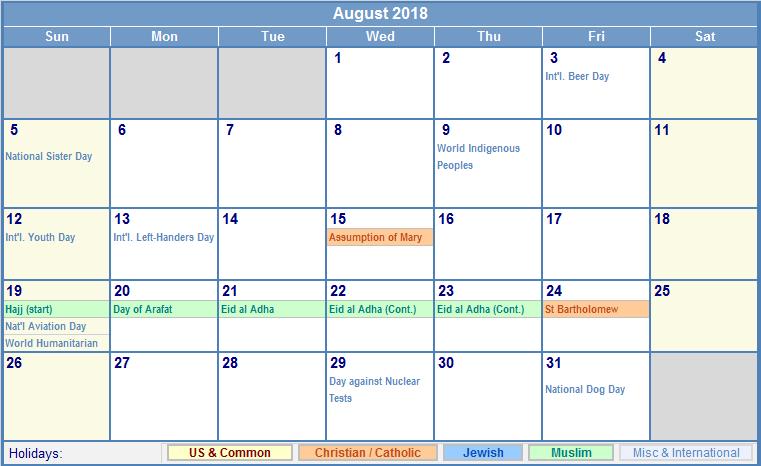 2018 printable calendar with us holidays