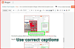How to add captions on blogger images