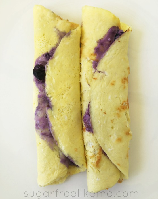 Low carb blueberry cream cheese crepes