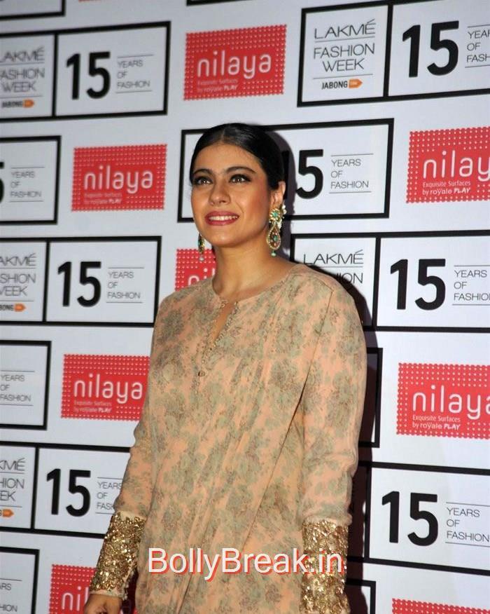 Kajol, Lakme Fashion Week 2015 - Deepika, Kajol, Sridevi at Sabyasachi Fashion Show