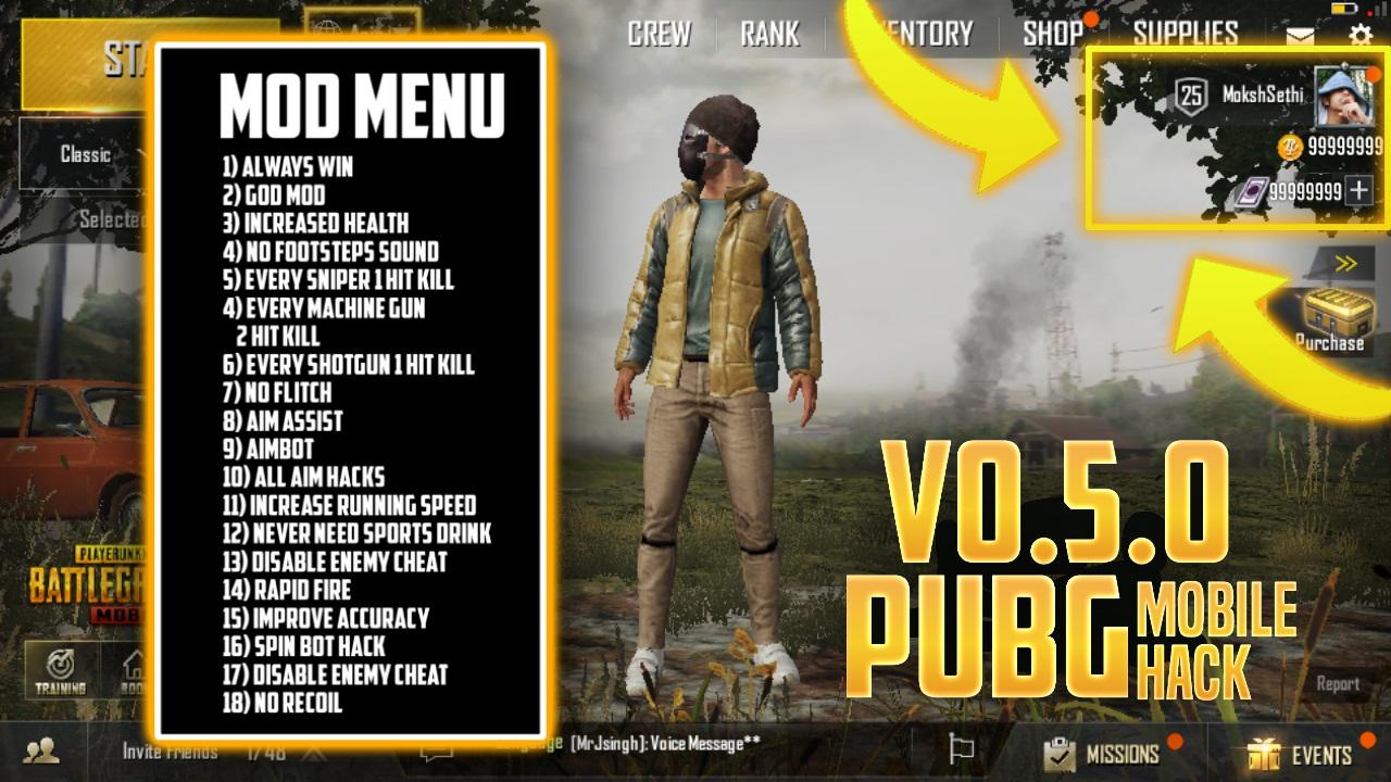 PUBG Mobile MOD V0 5 Apk (1 HIT KILL, UNLIMITED HEALTH, SPIN BOT
