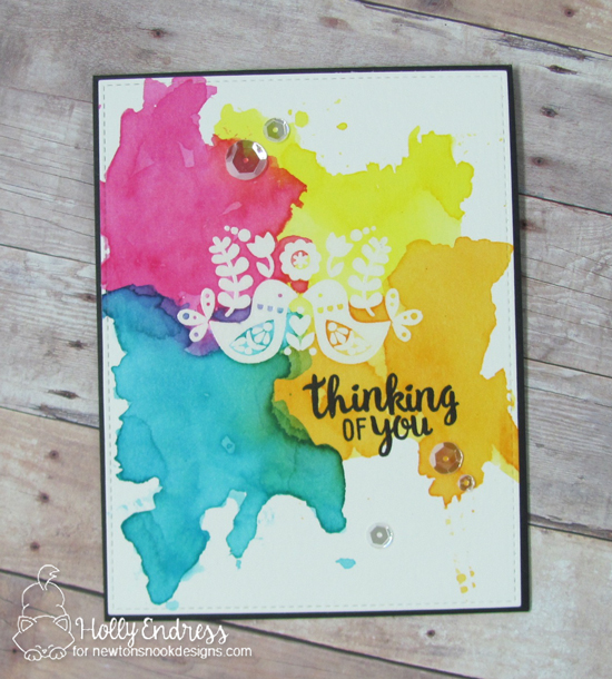 Thinking of You Splatter Card by Holly Endress features Cottage Garden by Newton's Nook Designs, #newtonsnook
