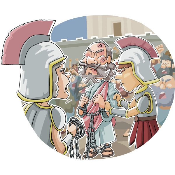 Today's Christian Clipart: Paul arrested in Jerusalem