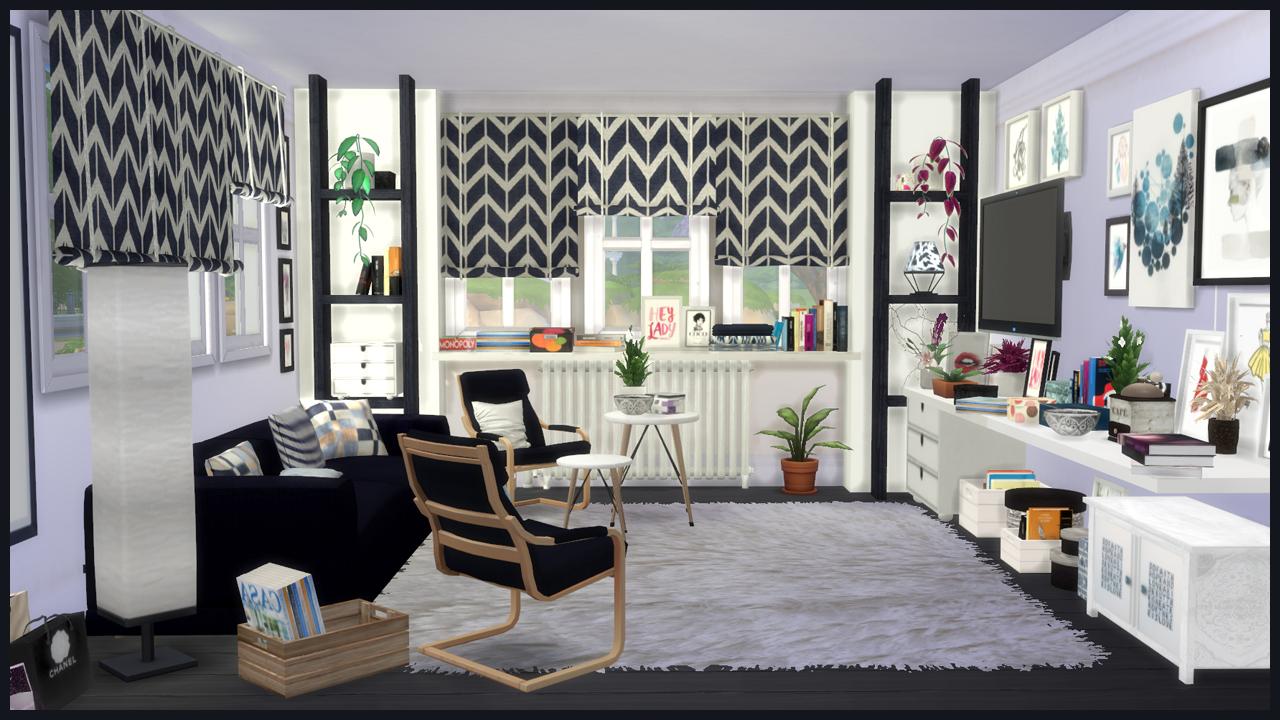Ingrid living sims 4 custom content for Salon moderne sims 4