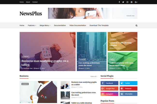 [Free Download] Newsplus Blogger Template
